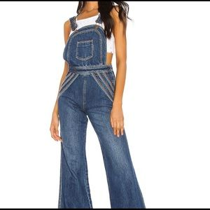 Free People Chasing Rainbows Jean overalls